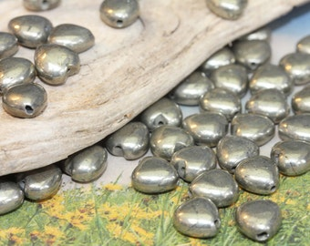 Natural Gemstone Pyrite hearts 8mm or 10mm / Gold Pyrite Beads / Gemstone Heart Beads / 3 x Natural Heart Beads