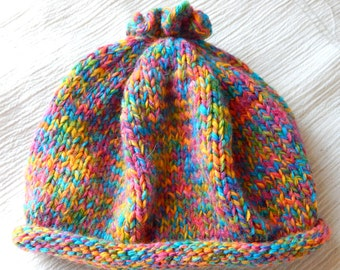 Cinched Top Knit Baby Hat