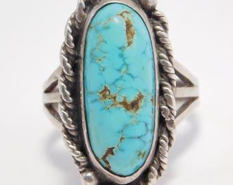 Gorgeous Turquoise Silver Ring Harvey Era Southwest