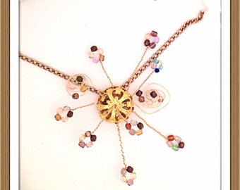 Handmade MWL danish clusters and twisted wire necklace. 0292