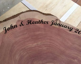 """Large Wood Cake Base, Wood Piece, laser engraved with name, date, pick size 12"""" to 20"""" diameter centerpiece, cake stand, woodland, barn"""