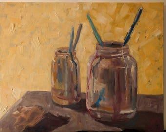The Artist's Studio, Jars and Brushes, original oil painting