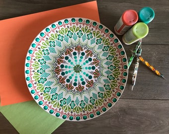 Ten Inch Dinner Plate, Mandala Plate, Dot Mandala Art, Hand Painted Plate, Decorative Plate, Birthday Gift, Anniversary gift for Her