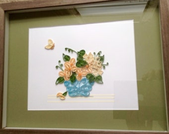 Butterfly Dream-Quilling Wall Art, Flowers, Butterfly, Framed, Matted, Blue, Original Quilled Design, Gift, Home, Housewarming, Spring Cheer