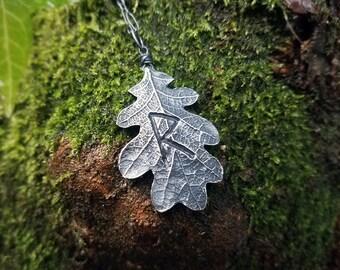 Viking Rune - Raido - Quercus Oak Leaf - Handmade Fine Silver Pendant by Quintessential Arts
