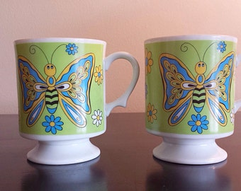 2 Vintage Butterfly Pedestal Mugs Retro Mod