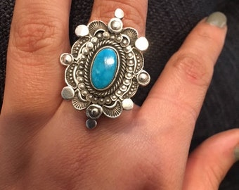 One of a kind design authentic Turquoise ring with Sterling silver