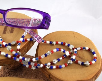 Americana patriotic red white and blue eyeglass sunglass handcrafted beaded chain never lose your glasses again!