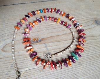 Santo Domingo heishi Spiny oyster nugget necklace Kewa purple red orange