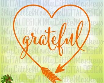 Grateful heart svg   Etsy