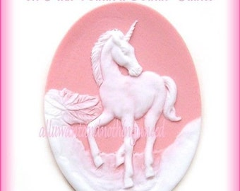 2 White Mythological UNICORN Unicorns on a Bright Pink Background Cameos 40mm x 30mm Resin Cameo Lot Horse Equine for Costume Jewelry