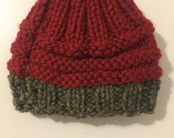 Handmade Red and Granite knit hat