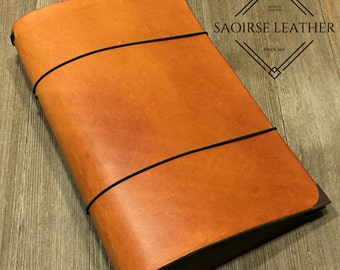 "The ""Ainsley"" Custom Leather Traveler's Notebook (WIDE WIDTH) for Large Moleskine Cahier Journal (6"" x 9"")"