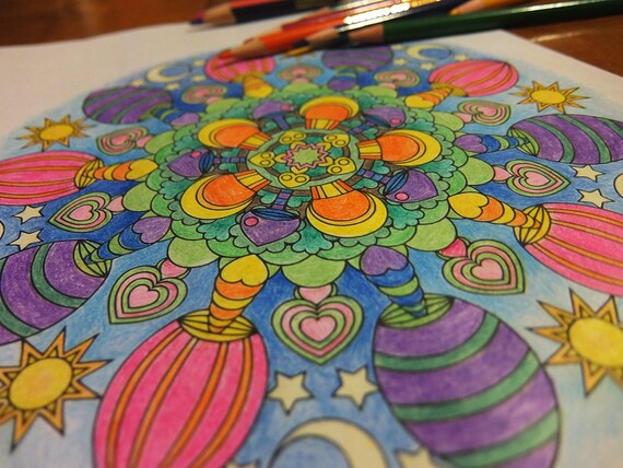 Mindfulness Coloring Pages Pdf : Mandala coloring page magic mushrooms instant download pdf