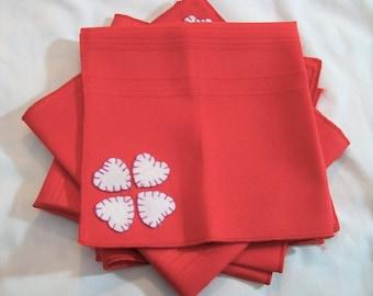 Valentine's Day Napkins, Heart Cloth Napkins, Heart Appliqued Napkins, Valentine's Day Red Napkins, Heart Cloth Napkins, Love Napkins