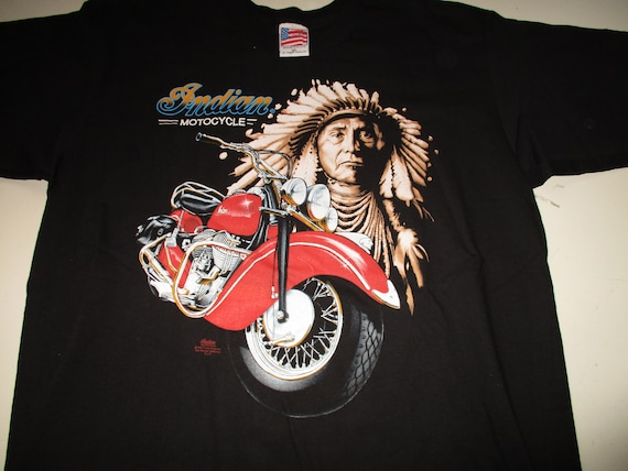 Vintage indian motorcycle t shirt laughing indian by trinity productions made in the usa 1991 new without tags 8cCJGtU
