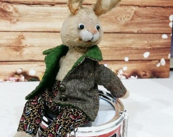 Bunny musician handmade toys rabbit with a drum