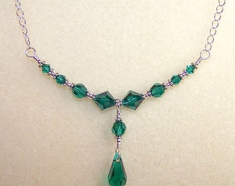 Green Necklace 16 Inch Emerald Green Crystal Teardrop Silver Chain May Birthstone Jewelry for Her