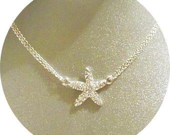 Starfish Necklace, Beach Wedding, Starfish Pendant, Sparkly Starfish Necklace, Destination Wedding, Beach Jewelry