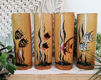 Bamboo Tiki Mugs / Tiki Glasses / Bamboo Glasses / Vintage Tiki