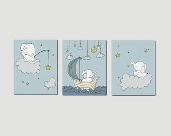 Elephant Nursery Art Prints -- Nursery Decor -- Elephants Clouds and Stars Art -- Set Of 3 Prints -- Kids Wall Art