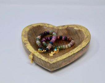 Rainbow Agate Beaded Elastic Charm Swarovski Bracelet