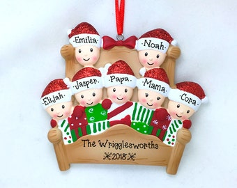 7 Family Members in Winter Bed / Christmas Quilt / Personalized Christmas Ornament / Large Family / Hand Personalized