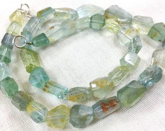 41 cm long high quality aquamarine beaded strand@ps78