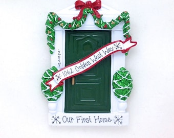 Green Door Personalized Christmas Ornament / Green Door Ornament / Housewarming Gift / New Home / Bless This Irish House