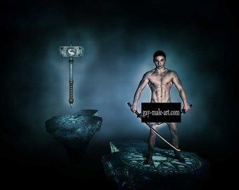 Dual Swords vs Warhammer Gay Art Male Art Nude Photo Print by Michael Taggart Photography warrior hero mythical sword war hammer blue muscle