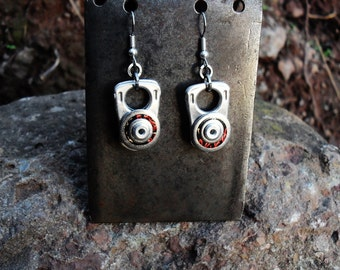 Recycled Beer Can Earrings, Silver color, Red and Black, Eco Friendly Valentine Gift for Her
