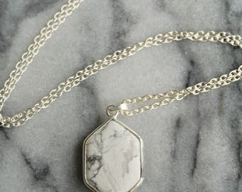 Sterling silver and howlite hexagon pendant marble pattern