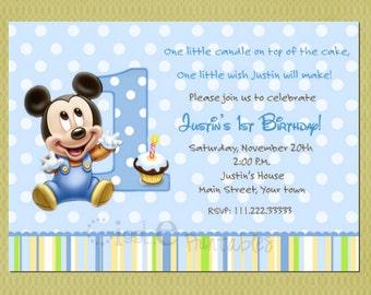 Baby mickey invite etsy baby mickey mouse birthday invitation filmwisefo