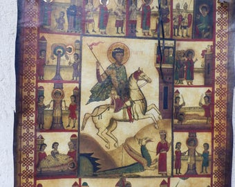 Pergament  Paper The Icon of Saint Geotgie