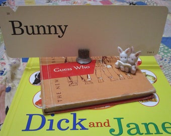 Vintage Dick and Jane Flashcards-Large-Easter-Original-Mid Century-Retro-Old Stock-Extra Long Size-Bunny