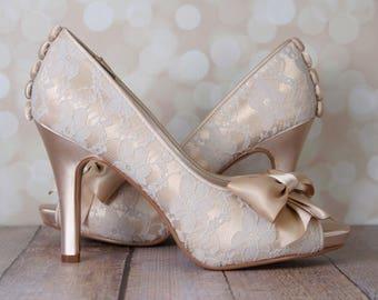Wedding Shoes, Champagne Wedding Shoes, Wedding Shoes Champagne, Lace Wedding Heels, Wedding Shoes with Bow, Champagne Wedding