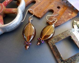 Hollow Japanese Lampwork Bead Earrings