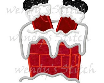Christmas Santa in chimney applique machine embroidery design instant download