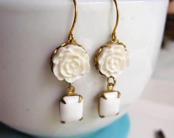 White Rose Earrings, Flower earrings, Bohemian Earrings, Vintage Style, Dangle Drops, Blueartichokedesigns