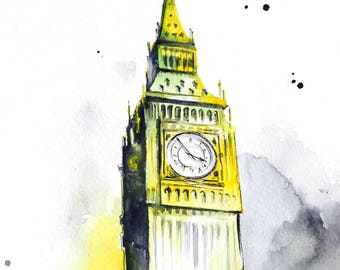 London Inspired Original Abstract Watercolor Painting - Contemporary Home Decor - Wanderlust by Lana Moes - Travel Art - Big Ben Cityscape