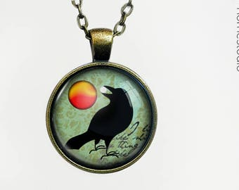 Raven Myth  Glass Dome Pendant, Necklace  or Keychain Key Ring. Gift Present metal round art photo jewelry by HomeStudio