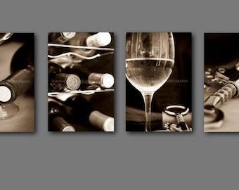 Wine Photography Print Set  Sepia wine Art Winery California Restaurant Wine Bar Kitchen Art Dining Room Hotel, Black and White