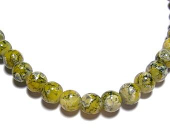 8mm Glass Beads Yellow Swirl Marble 55 pcs