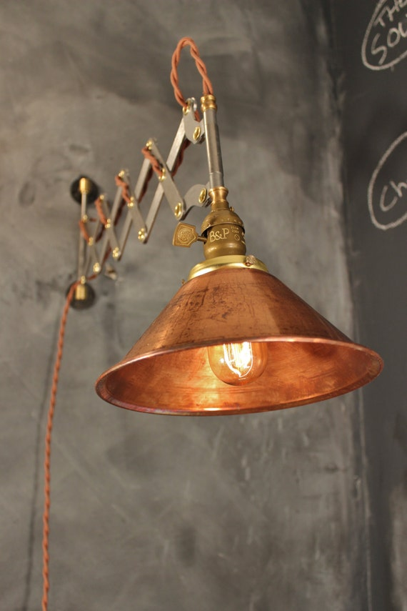 Industrial Lighting Vintage Steel Scissor Lamp Expandable