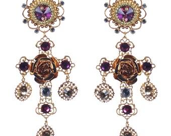 Pink Byzantine cross earrings, Custom Earrings,  Pink filigree cross, crystal earrings, religious floral jewelry, pink gold, flower earrings