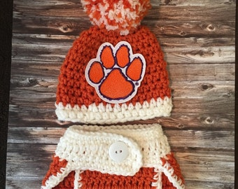 Baby Clemson Tigers hat, newborn Tigers outfit, Clemson Tigers photo prop, Tigers hospial baby hat