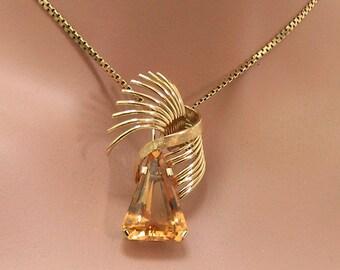18K Citrine Pendant Necklace Mid Century Modern 18 Karat Yellow Gold Citrine Pendant Necklace November Birthstone Gift for Her