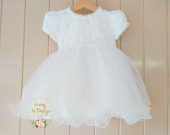 Sweet Ivory Lace Baby Girl Baptism Dress Christening Dress Lace sleeve Pearl Design with matching bonnet and shoes