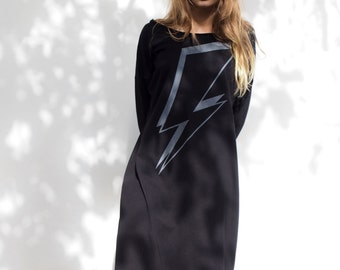 Black Dress, lightning bolt, women clothing, dress, t-shirt dress, lightning, screen print, midi dress, fashion,