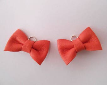 2 mini coral leather knot of 2 x 3 cms hand-made